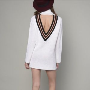 Sweater dress white high neck turtle open back Lf